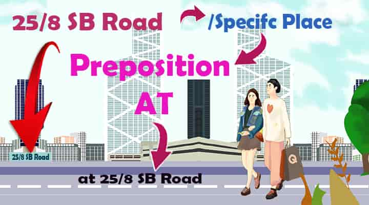 preposition of place at